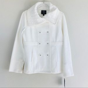 NWT Sebby Collection White Button Knit Coat L